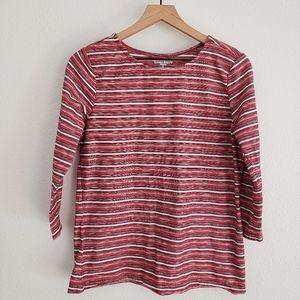 Laura Scott Red Striped Tee Size L
